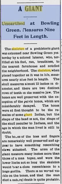 Nephilim Chronicles: Giant Human Skeletons: 9 Foot Human Skeleton With a Double Row of Teeth Found in Bowling Green, Kentucky