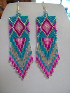 Native American Beaded Diamond Rug Earrings by BeadedCreationsetc, $30 ...