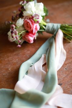 Hand-dyed silk ribbons | Sarah Goodwin Photography | see  more on: http://burnettsboards.com/2014/06/vintage-travel-inspired-wedding/ #silk #ribbons