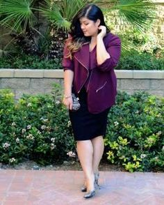 A jewel-toned jacket is a beautiful way to add color into your wardrobe. Wear it over a pencil skirt... - Curvy Girl Chic