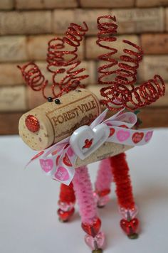 Valentine Wine Cork Reindeer Ornament-Valentine's by TheCorkForest