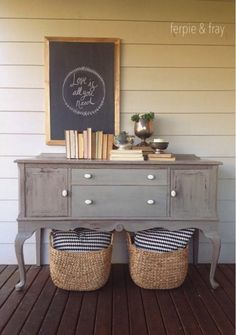 Buffet painted in Driftwood ( Old Fashioned Milk Paint Company) by Ferpie and Fray Grey Painted Furniture, Milk Paint Furniture, Recycled Furniture, Home Decor Furniture, Home Decor Items, Furniture Makeover, Vintage Furniture, Refinished Furniture, Buffet