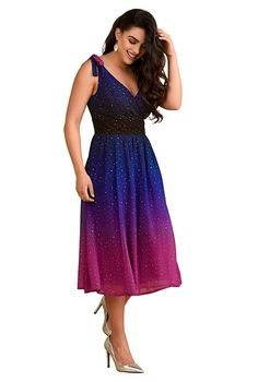 I <3 this Ombre star print georgette shoulder ties dress from eShakti