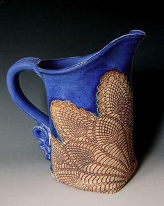 Cobalt Blue Pineapple Lace Impressed Ceramic 1 Quart Pitcher. $48.00, via Etsy.