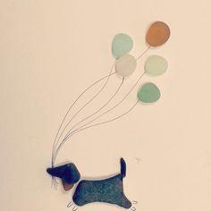 Balloon thief! #seaglass #seaglassart