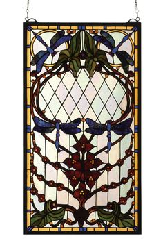 14 Inch W X 25 Inch H Dragonfly Allure Stained Glass Window - 14 Inch W X 25 Inch H Dragonfly Allure Stained Glass WindowMidnight Blue dragonflies dance on an Iridized Clearglass field with Cabernet Trilliums and glittering Goldborders in this Meyda Tiffany original stained glass window. Brass mounting bracket and chains are included. Theme: VICTORIAN ARTS & CRAFTS Product Family: Dragonfly Allure Product Type: WINDOWS Product Application: Color: ZASDYI BURGUNDY PBAG AMBER DA Bulb Type: Bulb…