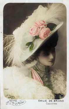 "Emilie de Briand"" - hand tinted postcard in the collectable French series ""Les Reines De La Mode"" showing actresses from theatre groups in the fashions of the day.  She was probably an actress at theThéâtre Musée des Capucines"