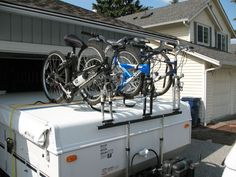 Homebuilt Bike Rack for a tent trailer. No welding and a parts list!