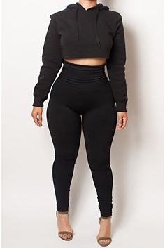 If I had style The Black Yoga Tummy Control Legging fits up to PLUS! (choose your size) Fashion Moda, Curvy Fashion, Plus Size Fashion, Girl Fashion, Fashion Outfits, Womens Fashion, Classy Outfits, Casual Outfits, Cute Outfits