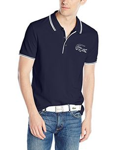 Lacoste Men's Short Sleeve Pique Printed Croc Regular Fit Polo Shirt, Navy Blue White, 4 Men's Fashion >>> You can find more details by visiting the image link.