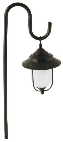 Moonrays 95867 Parker Style Low Voltage Metal Path Light,10-Watt Lamp by Moonrays. $21.89. From the Manufacturer                The park-style light is unique because it hangs from a hook(included) but is still wired into your low voltage lighting kit. It stands 26-Inch above ground. The entire fixture is made of die cast aluminum with a black finish. The frosted glass lens gives a much softer glow than the light a clear glass lens gives. you can change the bulb out with Moon...