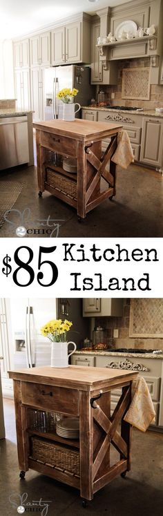 DIY Kitchen Island inspired by Pottery Barn! LOVE this and the price!! #diy Knock off Decor #DIY Knock Off Pottery Barn