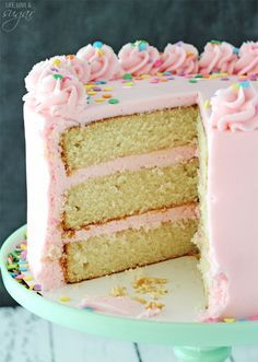 Moist and Fluffy Vanilla Cake! Such a soft, tender cake! ~ Life, Love, and Sugar