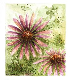 Purple flowers watercolor abstract original 5 x 6 by ruthsartwork