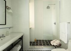 Tile circles in the shower   Wythe Hotel | Brooklyn and Beyond - Est Magazine
