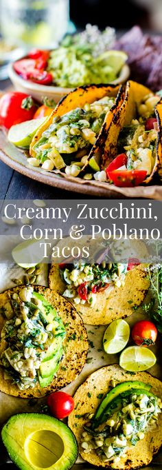 Late summer veggies shine in these Creamy Corn, Zucchini and Poblano Tacos. Easy to pull together and freezer friendly! vegetarian w/ vegan + gluten free option | dinner