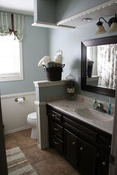 Blue bathroom inspiration (very close to the look I want to achieve and the vanity and mirror are very close to the ones in the house(