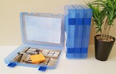 Snap Lock Blue Thick Document Cases, File Organizers, Storage Containers - A4 4 Pack