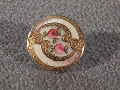 I am offering you this vintage fancy French enameled champlevé button. It is measures app.   3/4  inch in diameter, and very convex in its design.