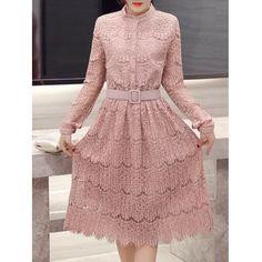 vestido com manga de renda longo, Long Sleeve Vintage Vestido laciness