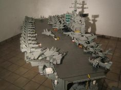 Built entirely out of LEGO blocks, here are some of the craziest replicas of (mostly) real objects and places. Lego Army, Lego Military, Lego Aircraft Carrier, Lego Structures, Lego Ship, Lego Blocks, Hobby Toys, Cool Lego Creations, Everything Is Awesome