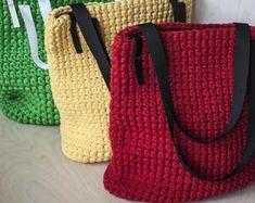 Minimalist Navy Blue Everyday Bag/ Ladies Handbag/ Casual Bag/ Shopper Bag/ Everyday Woman's Bag/ Crochet Bag of Cotton Recycled Chunky yarn Shopper Bag, Tote Bag, Fabric Factory, Crochet Shoulder Bags, Classic Handbags, Recycled T Shirts, Crochet Tote, Everyday Bag, Casual Bags