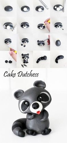 Raccoon Pictorial Tutorial for gum paste - Cake Dutchess - For all your cake… Polymer Clay Figures, Polymer Clay Animals, Polymer Clay Projects, Polymer Clay Charms, Polymer Clay Creations, Cake Dutchess, Decors Pate A Sucre, Decoration Patisserie, Fondant Toppers