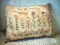 Primitive Hand Stitched Garden Pillow Flowers by valleyprimitives, $15.00