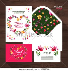 Vector wedding set with watercolor floral illustration. Wedding invitation, thank you card, envelope and RSVP card.  - stock vector