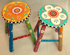 Funky Furniture - Be Fabulous Whimsical Painted Furniture, Hand Painted Furniture, Funky Furniture, Paint Furniture, Repurposed Furniture, Furniture Projects, Furniture Makeover, Hand Painted Stools, Wooden Stools