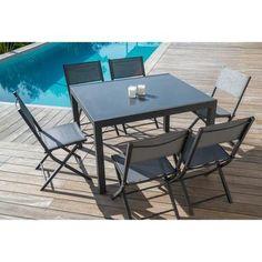 Ensemble de jardin 1 table extensible 120-180 + 6 chaises en ...