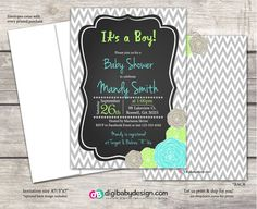 Baby boy chalkboard baby shower invitation in gray chevron with teal and lime green peony flowers by DigiBabyDesign #babyboy #itsaboy #babyshower