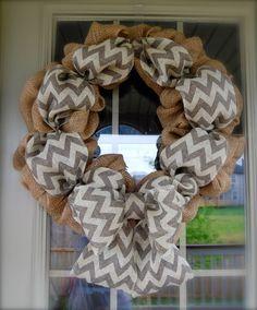 Burlap and Chevron Wreath by EiermanEmporium on Etsy, $50.00