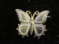 Vintage Damascene Butterfly Brooch by zoecatglitzanglamour on Etsy