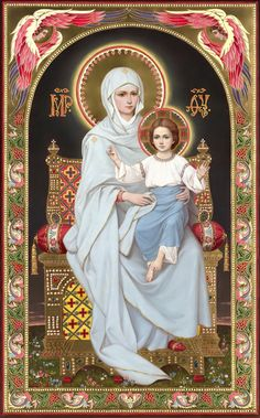 Blessed Virgin Mary and the Child Jesus Religious Images, Religious Icons, Religious Art, Blessed Mother Mary, Blessed Virgin Mary, Hail Holy Queen, Images Of Mary, Queen Of Heaven, Mama Mary
