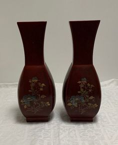 Yellow Decorative Vase Hand Painted Ceramic Red  Brown Silver 20cm Height