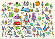 Color Doodle Notebook Mega Space Set Vector Illustration