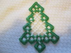 HARDANGER Tree Ornament Norwegian Embroidery Cut Work - CAD $10.32. A Hardanger tree ornament white with green and white stitching. Size is 2-3/4 x 3-3/4 inches. Done by me. 192452830107