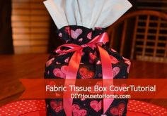 Who wants a cardboard box on their counter top, desk or nightstand? Quick and easy tutorial for a fabric tissue box cover. Washable and one half yard makes two ~ one for you and one to share! www.DIYHousetoHome.com