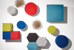 Bumper Small Ottoman: A round ottoman upholstered with fabric available in 13 colors. Buy this small round ottoman and modern ottomans at Blu Dot. Fabric Ottoman, Upholstered Ottoman, Pouf Ottoman, Honeycomb Shape, Hexagon Shape, Home Furniture, Modern Furniture, Furniture Design, Small Round Ottoman