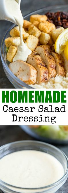 The easiest Homemade Caesar Salad Dressing with NO raw eggs and NO anchovies! Just 5 common pantry ingredients make this version super creamy and flavorful.