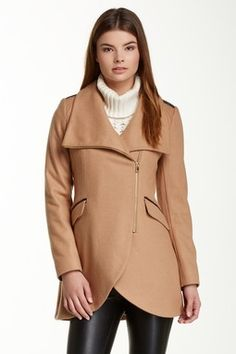 French Connection Asymmetrical Zip Wool Blend Faux Leather Accent Tulip Coat