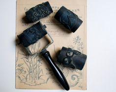 Vintage french embroidery rubber stamps