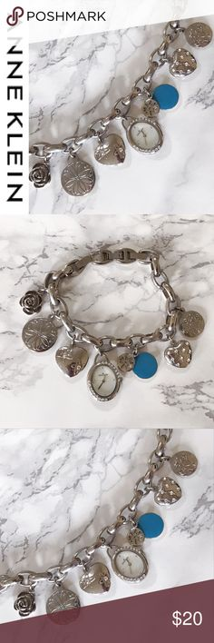 "Anne Klein Silver Watch Floral Charm Bracelet Pre-Loved Anne Klein Silver Watch Floral Watch Charm Bracelet with blue and Swavorski  crystal accents | 8"" Length 