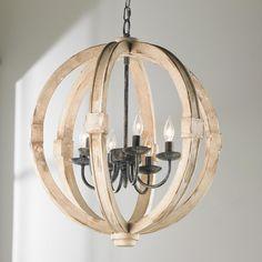 Distressed Wood Sphere Indoor/Outdoor Chandelier-$649. Thru Shades of Light