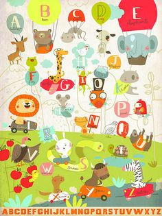 Animalphabet: Print by Sigrid Martinez on Flickr (50x70 cm, € 59.00) #abc #illustration #animal