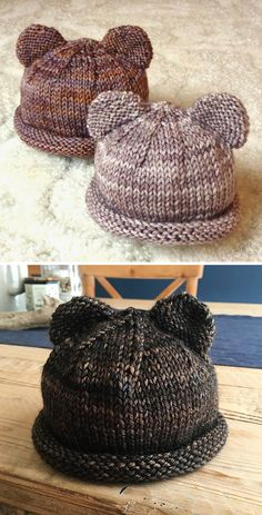 Itty Bitty Bear Cubs - Free Pattern - knitting is as easy as 3 The St . - Itty Bitty Bear Cubs – Free Pattern – Knitting is as easy as 3 Knitting boils down to thr - Baby Hat Knitting Patterns Free, Easy Knitting, Knitting For Beginners, Crochet Patterns, Free Pattern, Pattern Sewing, Knitting Bear, All Free Knitting, Baby Hats Knitting