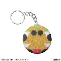 Modern colorful pattern basic round button keychain
