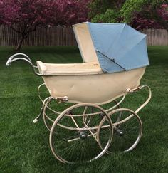 Wilson Silver Cross Baby Pram Carriage Pastorale White Blue Large Size Vintage #SilverCross