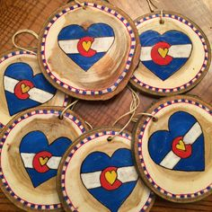 Colorado Love wood slice ornaments are ready for your tree!